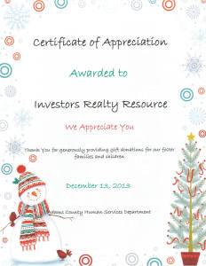 Certificate of Appreciation 2 (Adams County Human Services)