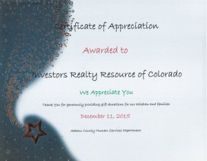 Certificate of Appreciation 2015 (Adams County Human Services)