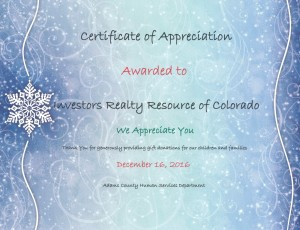 Certificate of Appreciation 2016 (Adams County Human Services)