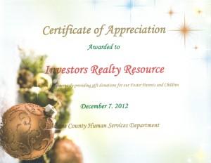 Certificate of Appreciation 3 (Adams County Human Services)