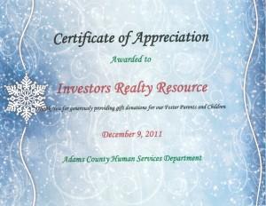 Certificate of Appreciation 4 (Adams County Human Services)