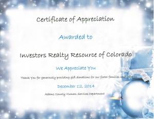 Certificate of Appreciation (Adams County Human Services)